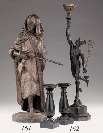 A Continental bronze lamp base