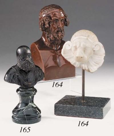 A Continental bronze bust of b