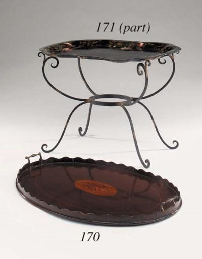 A Victorian mahogany oval tray