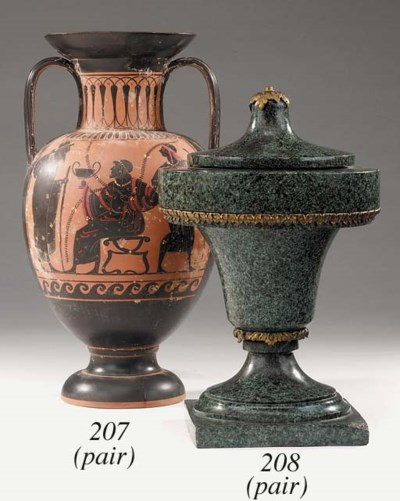 A pair of polychrome painted t