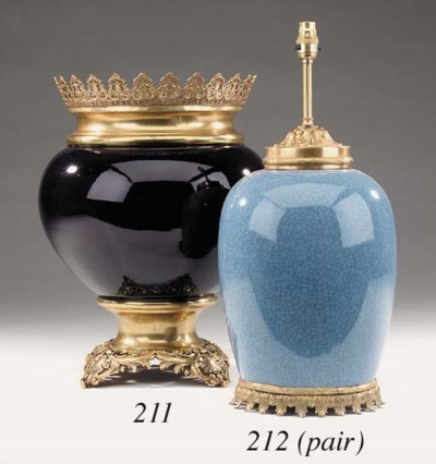 A French blue porcelain and gi