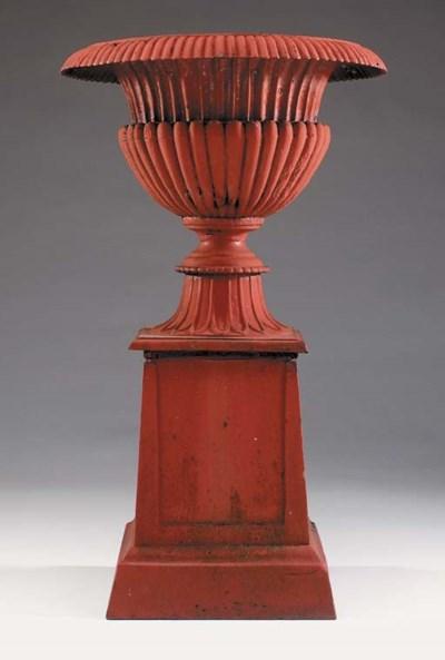A pair of English cast iron ur