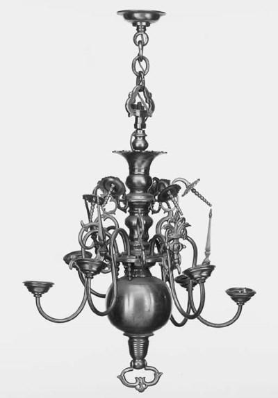 A Continental brass six light