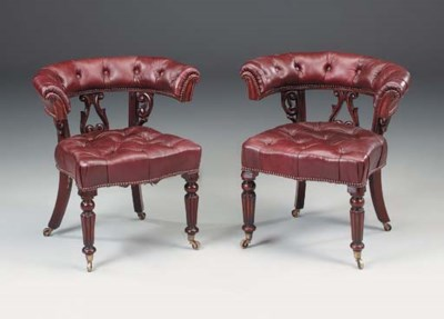 A pair of mahogany desk chairs