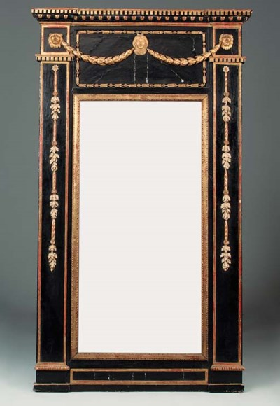 An Italian ebonised and parcel