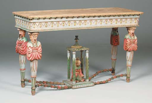 A polychrome decorated console