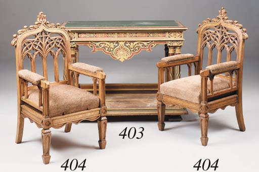 A pair of oak armchairs, late