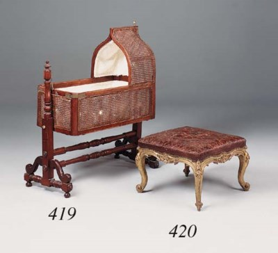 A Victorian giltwood and leath