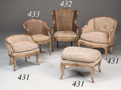 A French giltwood and caned tu