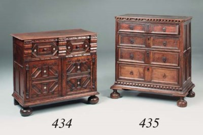 An oak chest, 17th century and