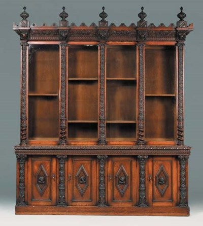 A Victorian carved oak bookcas