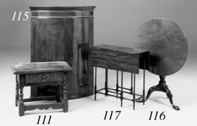A walnut side table, late 18th