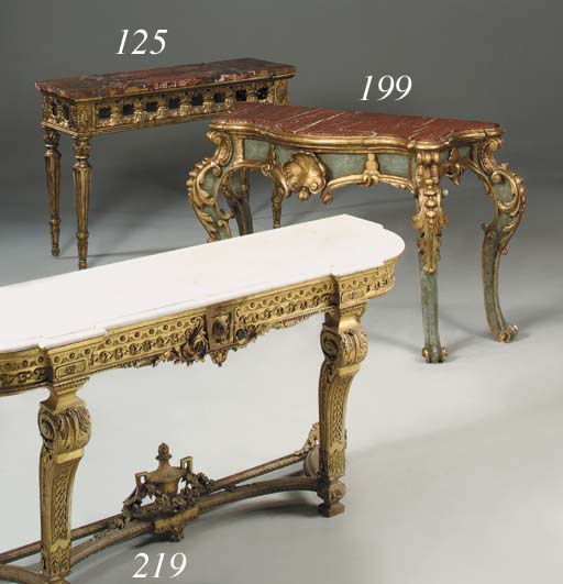 A serpentine giltwood and pain