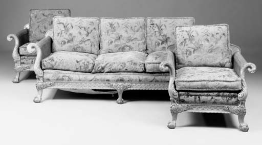 A walnut bergere suite, early