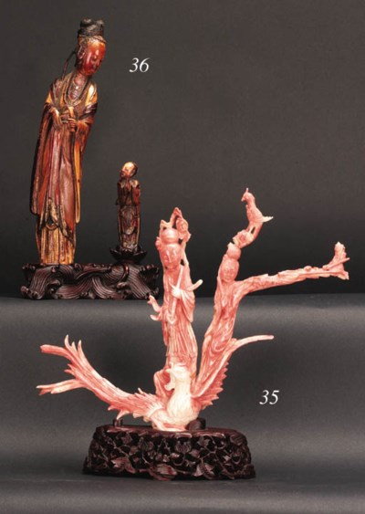 A coral carving of two maidens