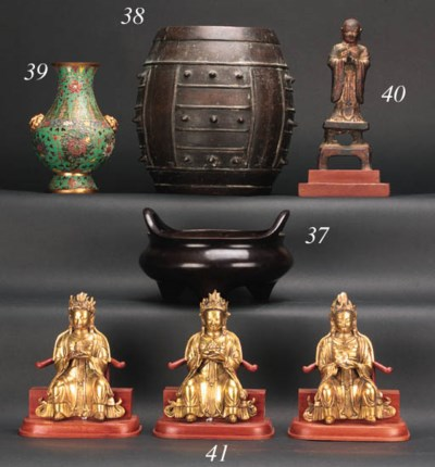 A Chinese cloisonne and gilt h