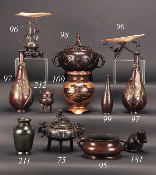 A Chinese bronze bombe censer