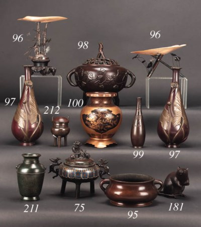 A Chinese bronze bombe censer