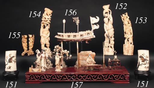 An ivory okimono of an Immorta