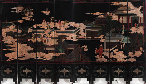 A Chinese black lacquered eight-fold screen 20th Century