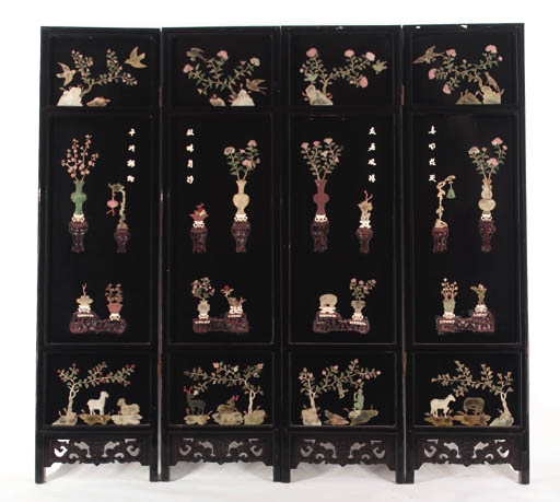 A Chinese lacquered four fold screen 20th century