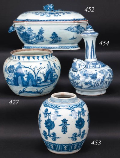 A late Ming blue and white ken