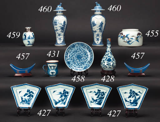 A Chinese blue and white ovoid jarlet and cover Kangxi