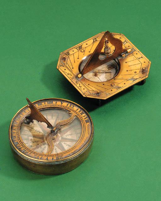 An 18th-Century brass compass-