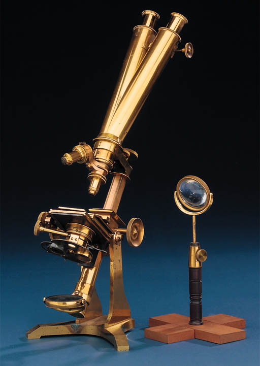 A 19th Century lacquered-brass Wenham's compound binocular microscope,