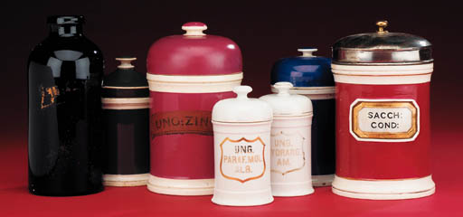 A collection of pharmacy jars,