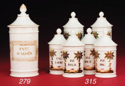 A collection of six porcelain