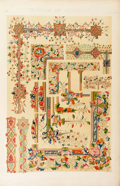 """JONES, Owen.  The Grammar of Ornament, London: Day and Son, 1856. 2° (560 x 365mm.), coloured """"illuminated"""" title, general title printed in red and black, 100 chromolithographed plates by Owen Jones (plates X-XVI loose, LXV and C spotted and waterstained, occasional marginal spotting, waterstaining, thumbmarking and fraying), contemporary half morocco, upper cover pictorial gilt, spine lettered and decorated in gilt (upper section of spine missing, rubbed), g.e. FIRST EDITION."""