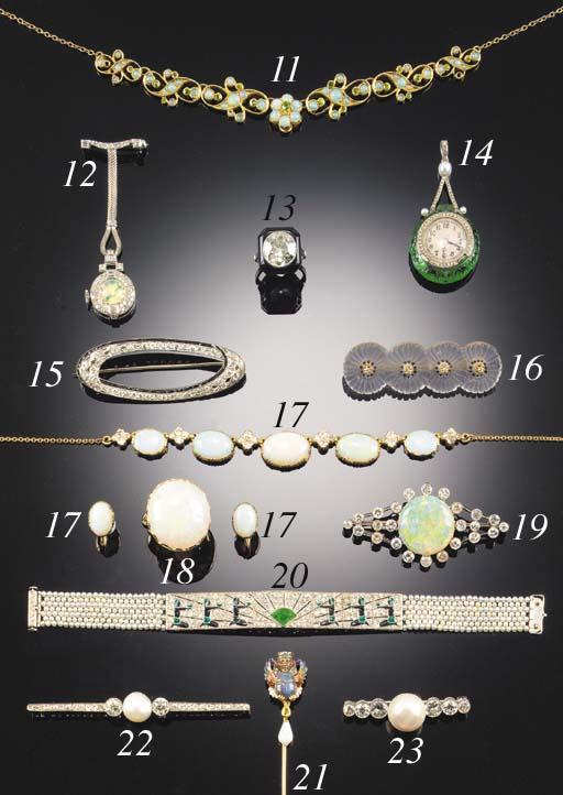 A PEARL AND DIAMOND SEVEN STON