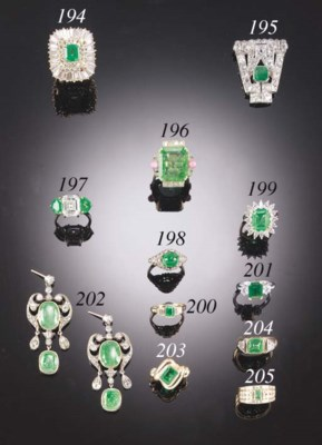 AN EMERALD, DIAMOND AND BAGUET