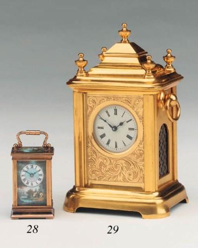 A Swiss brass and enamel-mount