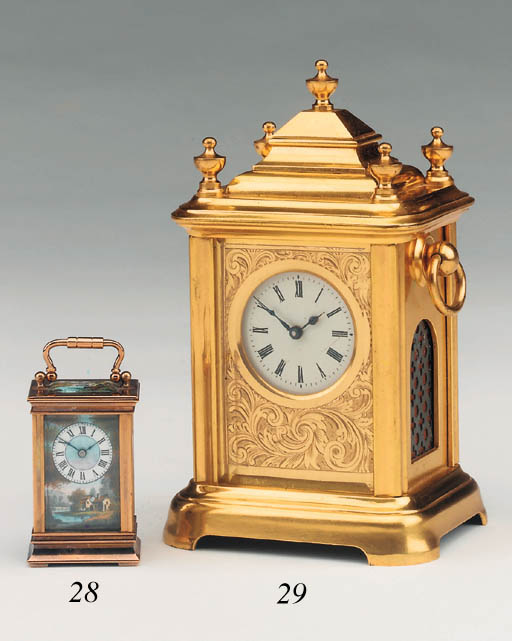 A Swiss brass and enamel-mounted sub-miniature travel timepiece, late 19th century