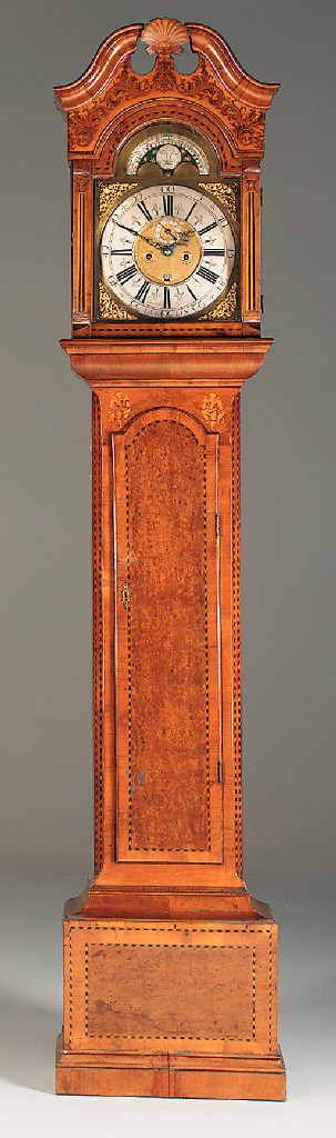 A walnut and marquetry longcas