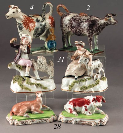 A Yorkshire pearlware cow crea