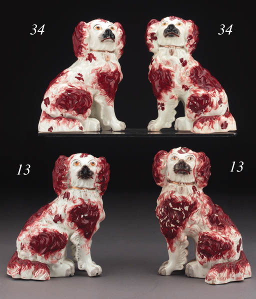 Two Staffordshire porcelain models of spaniels