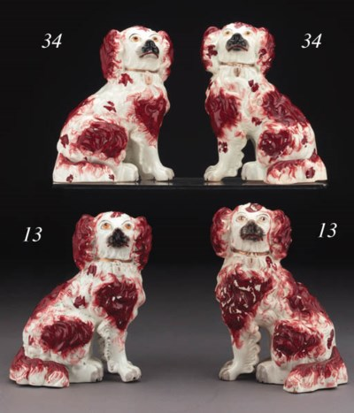A pair of Staffordshire porcel