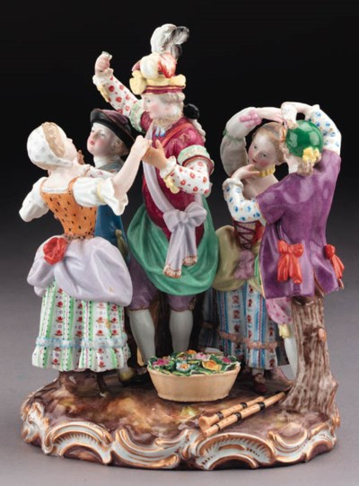 A Meissen group of dancers and