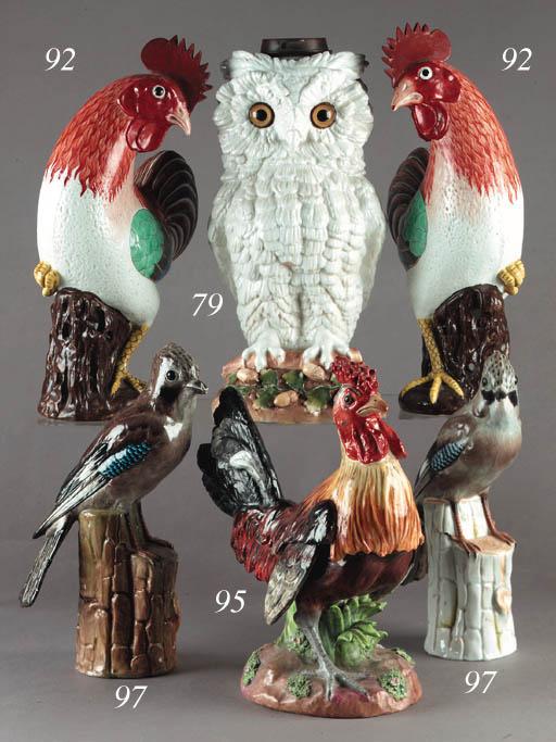 A German porcelain owl lamp ba