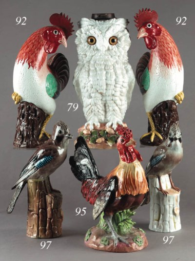 A German porcelain owl lamp ba