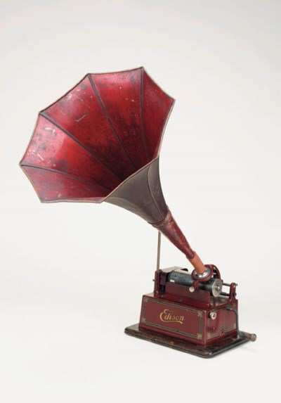 An Edison red Gem phonograph,