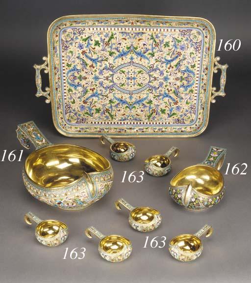 A set of six silver-gilt clois