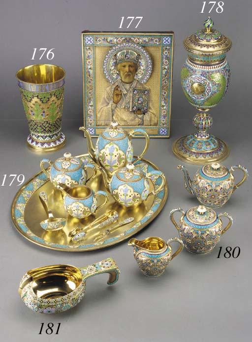 A silver-gilt cloisonné and ch