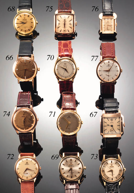 AN 18ct. GOLD SQUARE AUTOMATIC