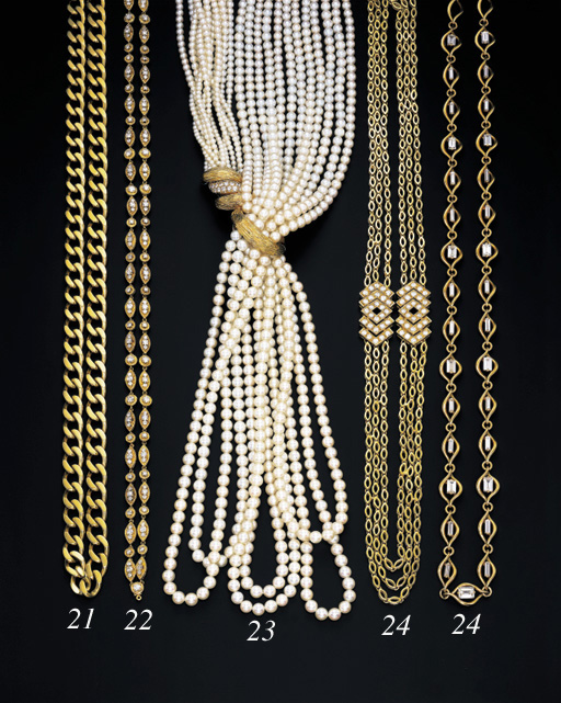 A SIX-STRAND CULTURED PEARL AND DIAMOND SAUTOIR, BY M. GERARD