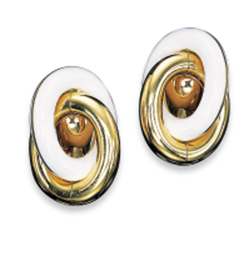 A PAIR OF ENAMEL AND 18K GOLD
