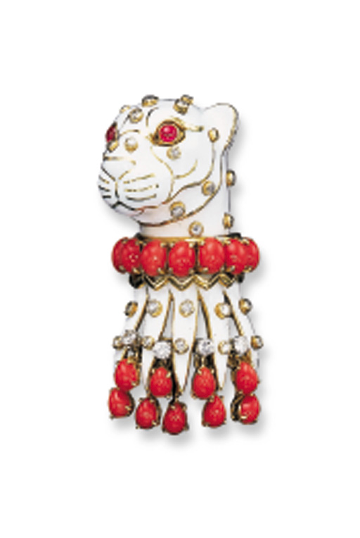 AN ENAMEL, CORAL AND DIAMOND P